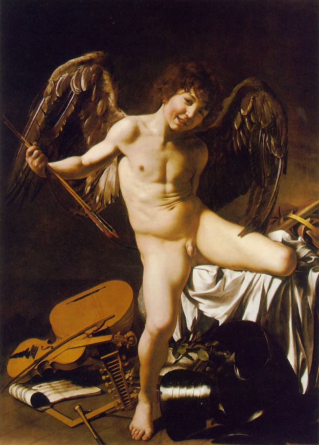 This is cupid.  He's the reason that you're in LOVE.  This painting is by Caravaggio, the best artist EVER!!!
